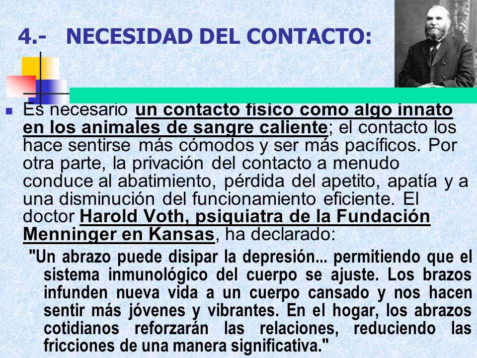 4.-NECESIDAD DEL CONTACTO: Harold Voth, psiquiatra de la Fundación Menninger en Kansas Es necesario un contacto físico como algo innato en los animale