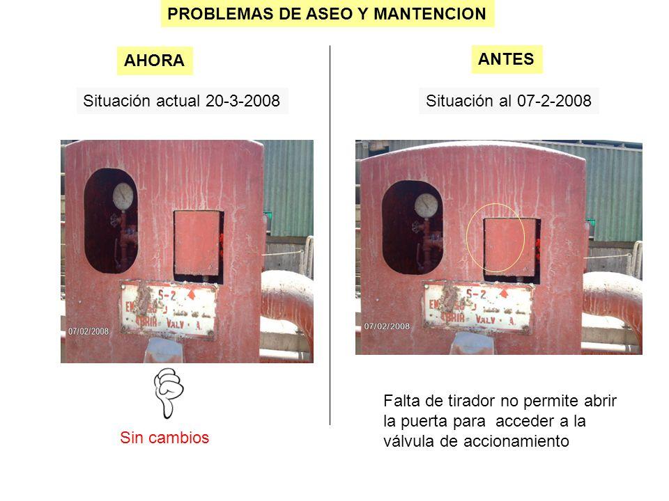 PROBLEMAS DE ASEO Y MANTENCION Situación actual 20-3-2008Situación al 07-2-2008 Sin cambios AHORA ANTES Falta de tirador no permite abrir la puerta para acceder a la válvula de accionamiento
