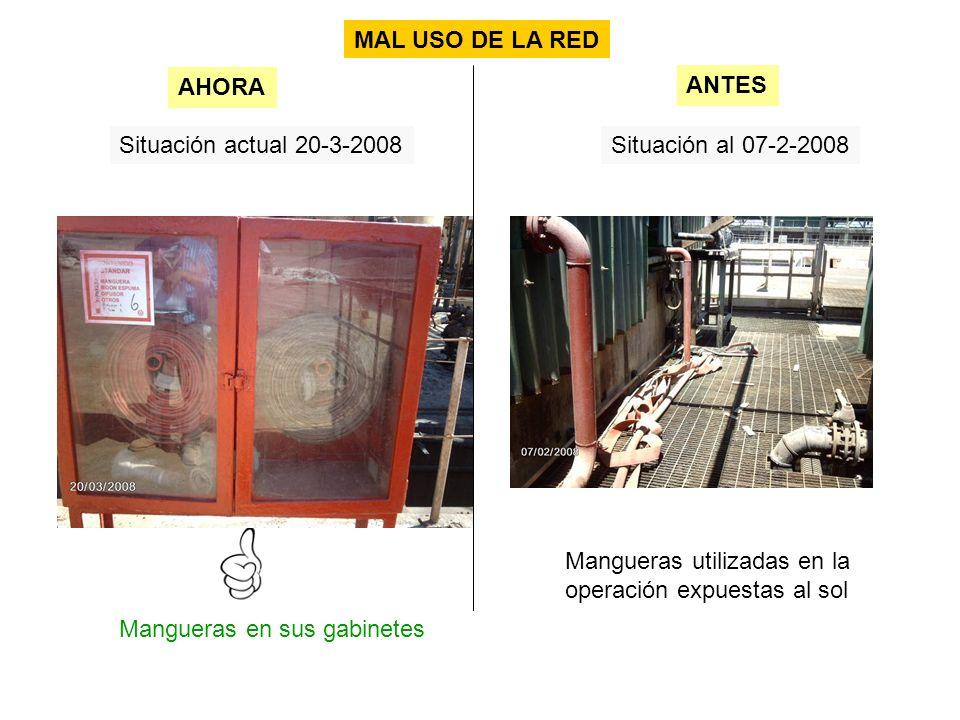 Situación actual 20-3-2008Situación al 07-2-2008 Mangueras en sus gabinetes AHORA ANTES Mangueras utilizadas en la operación expuestas al sol MAL USO