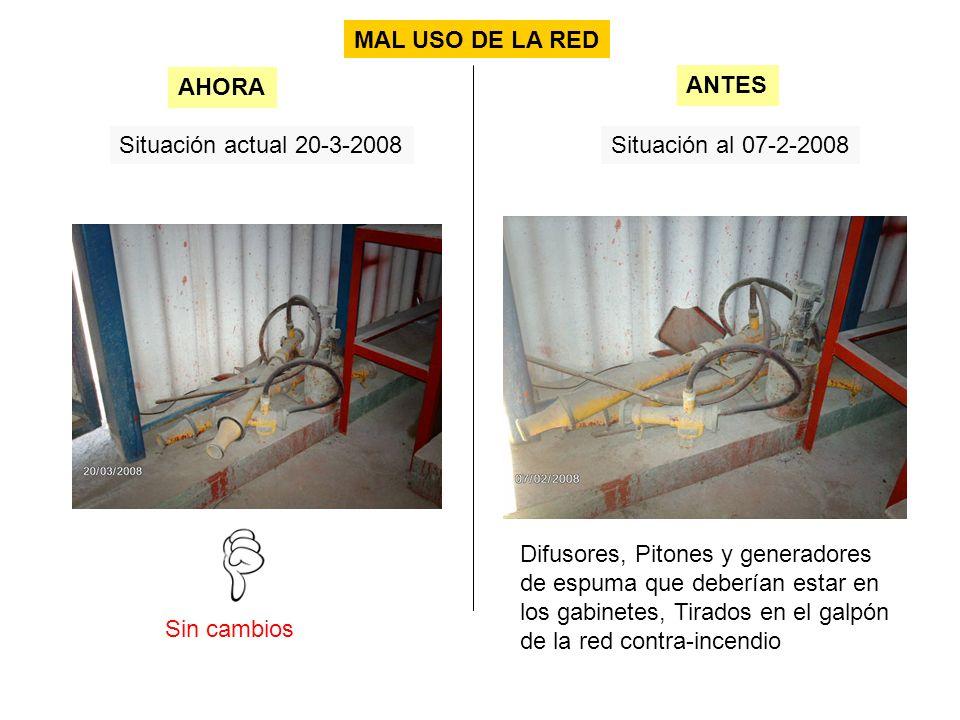 Situación actual 20-3-2008Situación al 07-2-2008 Sin cambios AHORA ANTES MAL USO DE LA RED Difusores, Pitones y generadores de espuma que deberían estar en los gabinetes, Tirados en el galpón de la red contra-incendio