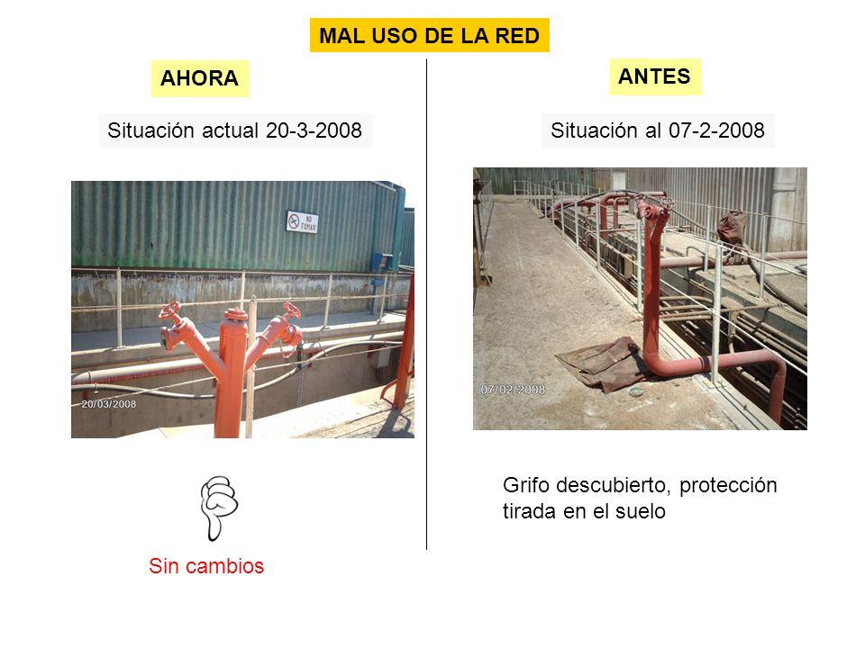 Situación actual 20-3-2008Situación al 07-2-2008 Sin cambios AHORA ANTES MAL USO DE LA RED Grifo descubierto, protección tirada en el suelo
