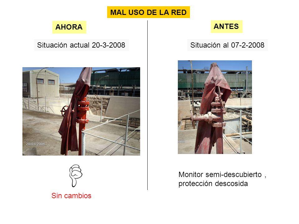 Situación actual 20-3-2008Situación al 07-2-2008 Sin cambios AHORA ANTES MAL USO DE LA RED Monitor semi-descubierto, protección descosida