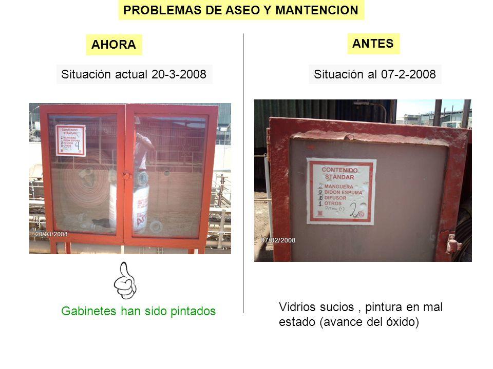 PROBLEMAS DE ASEO Y MANTENCION Situación actual 20-3-2008Situación al 07-2-2008 Gabinetes han sido pintados AHORA ANTES Vidrios sucios, pintura en mal