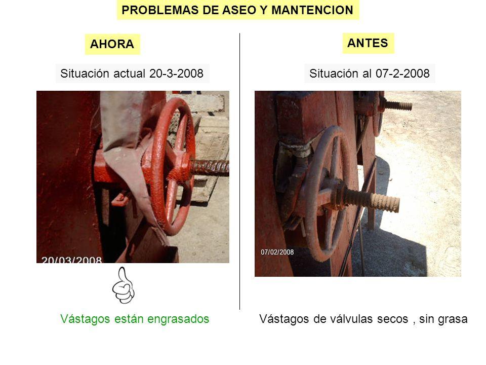 PROBLEMAS DE ASEO Y MANTENCION Situación actual 20-3-2008Situación al 07-2-2008 Vástagos están engrasados AHORA ANTES Vástagos de válvulas secos, sin grasa