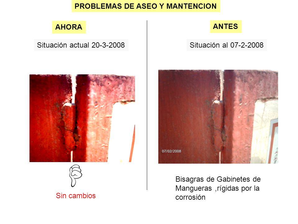 PROBLEMAS DE ASEO Y MANTENCION Situación actual 20-3-2008Situación al 07-2-2008 Sin cambios AHORA ANTES Bisagras de Gabinetes de Mangueras,rígidas por