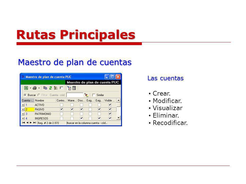 Maestro de plan de cuentas Rutas Principales Crear. Modificar. Visualizar Eliminar. Recodificar. Las cuentas