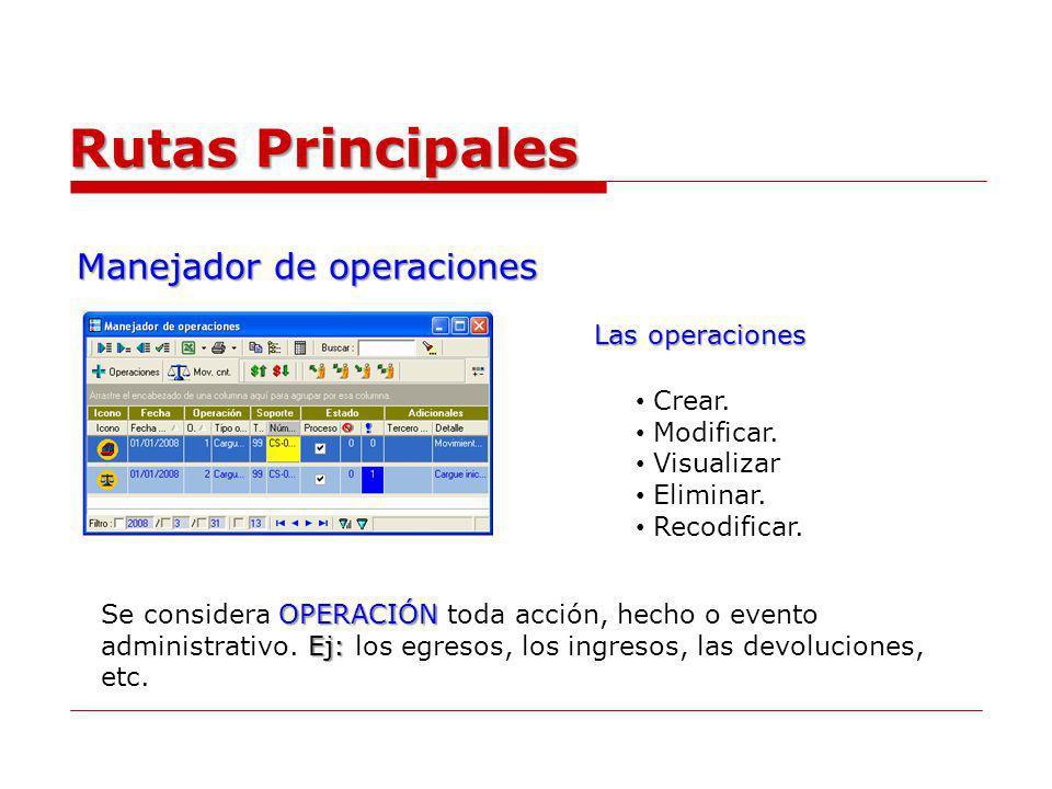 Manejador de operaciones Rutas Principales Crear. Modificar. Visualizar Eliminar. Recodificar. Las operaciones OPERACIÓN Ej: Se considera OPERACIÓN to