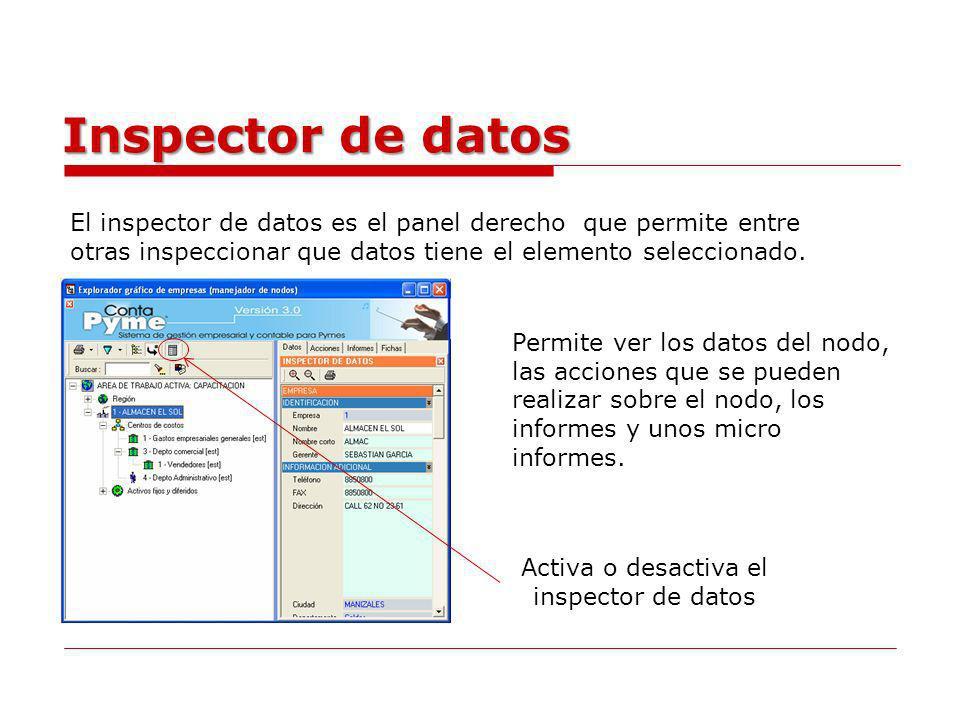 Inspector de datos El inspector de datos es el panel derecho que permite entre otras inspeccionar que datos tiene el elemento seleccionado. Activa o d