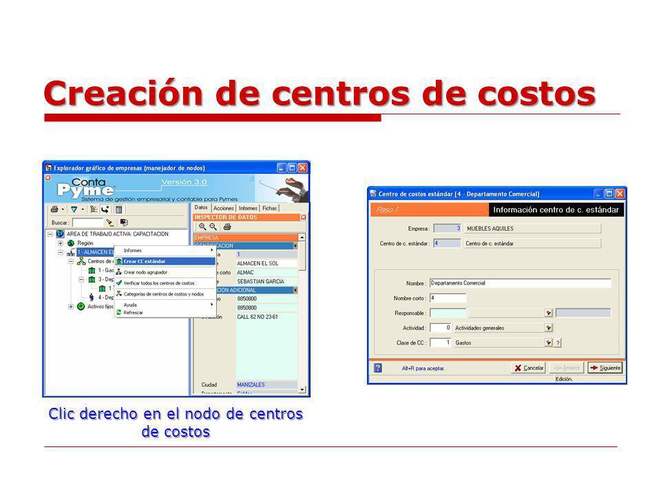 Creación de centros de costos Clic derecho en el nodo de centros de costos