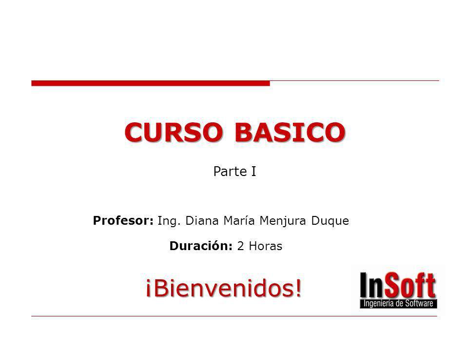 CURSO BASICO Profesor: Ing. Diana María Menjura Duque Duración: 2 Horas ¡Bienvenidos! Parte I