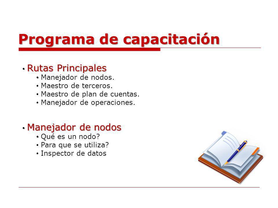 Programa de capacitación Rutas Principales Rutas Principales Manejador de nodos. Maestro de terceros. Maestro de plan de cuentas. Manejador de operaci