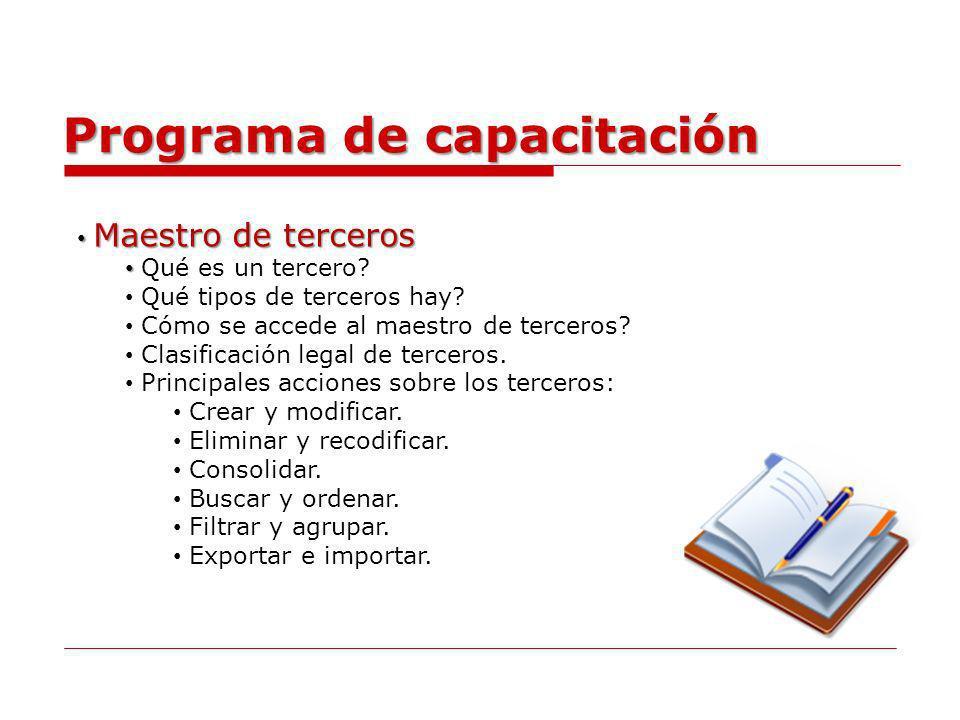 Programa de capacitación Maestro de plan de cuentas Maestro de plan de cuentas Qué es el maestro de plan de cuentas.