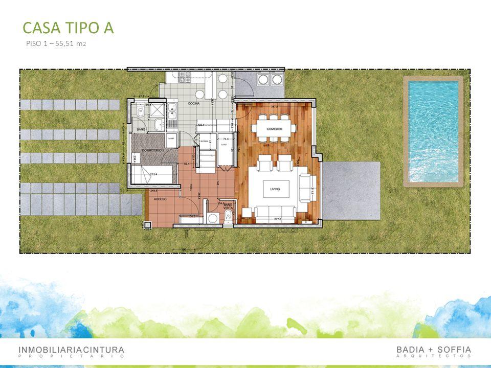 CASA TIPO A PISO 1 – 55,51 m 2