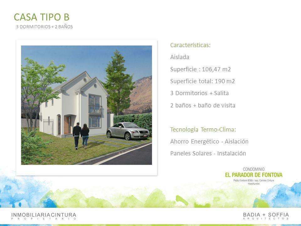 Características: Aislada Superficie : 106,47 m2 Superficie total: 190 m2 3 Dormitorios + Salita 2 baños + baño de visita Tecnología Termo-Clima: Ahorr