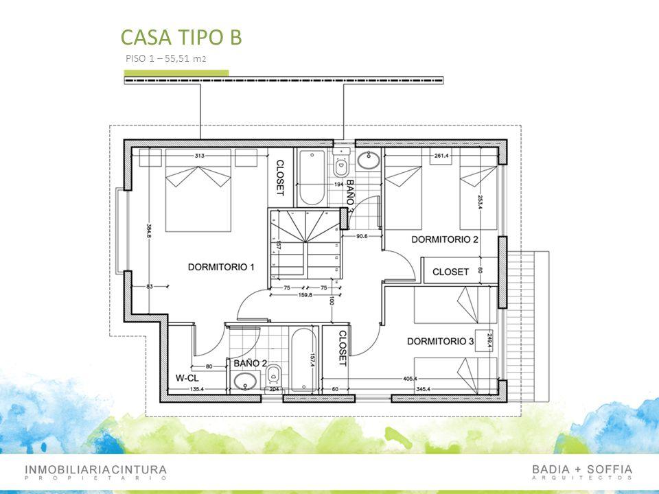 CASA TIPO B PISO 1 – 55,51 m 2