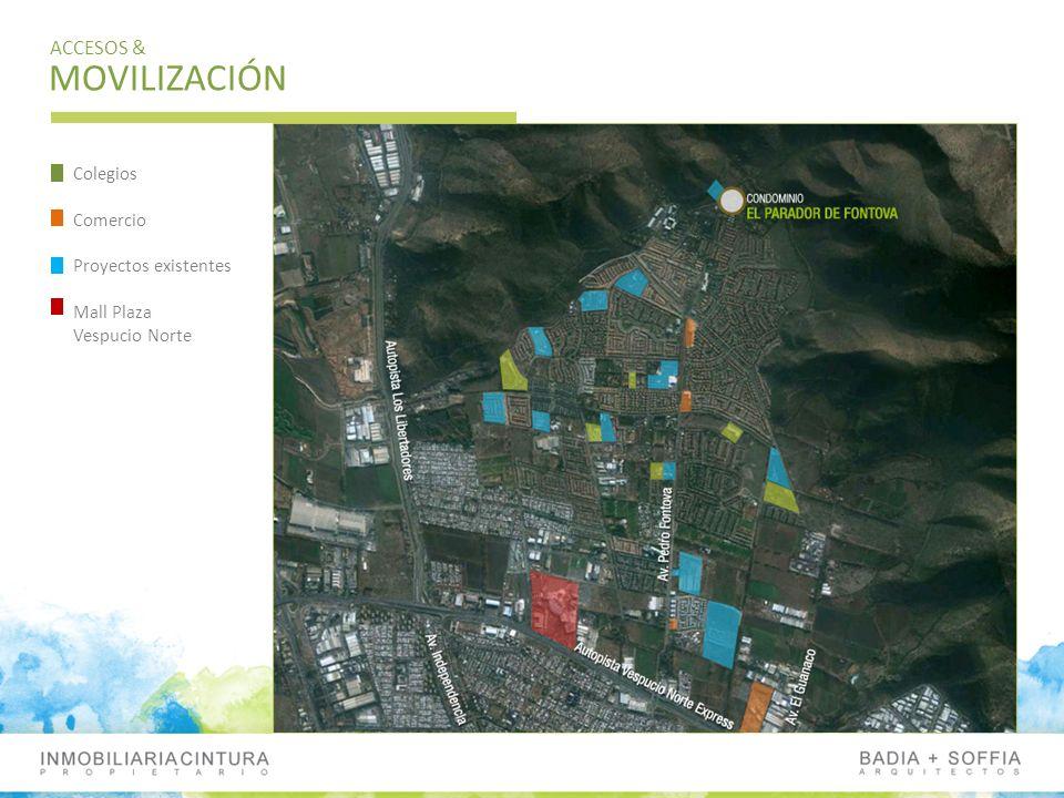 MOVILIZACIÓN ACCESOS & Colegios Comercio Proyectos existentes Mall Plaza Vespucio Norte