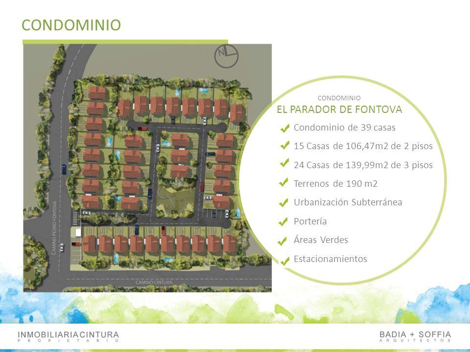 CONDOMINIO EL PARADOR DE FONTOVA Condominio de 39 casas 15 Casas de 106,47m2 de 2 pisos 24 Casas de 139,99m2 de 3 pisos Terrenos de 190 m2 Urbanizació