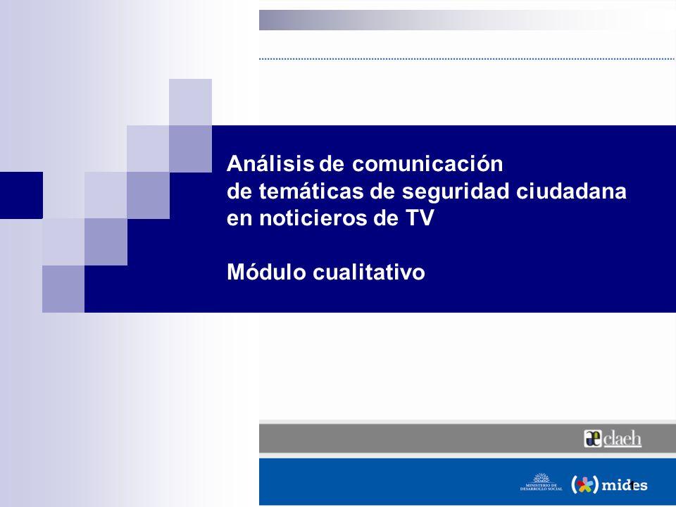 1 Análisis de comunicación de temáticas de seguridad ciudadana en noticieros de TV Módulo cualitativo