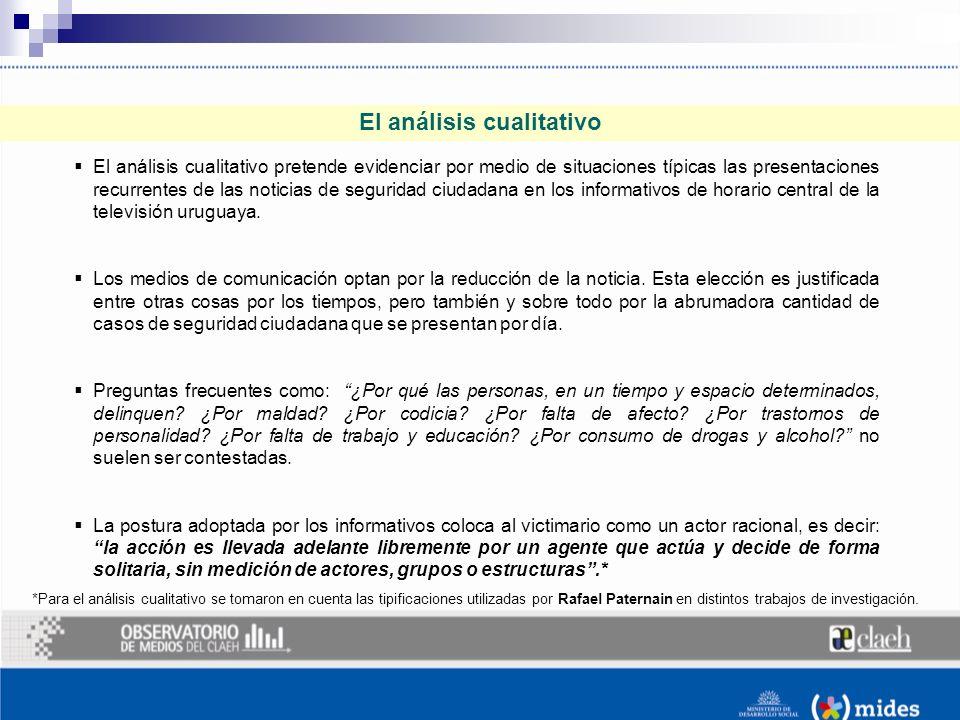 El análisis cualitativo El análisis cualitativo pretende evidenciar por medio de situaciones típicas las presentaciones recurrentes de las noticias de seguridad ciudadana en los informativos de horario central de la televisión uruguaya.