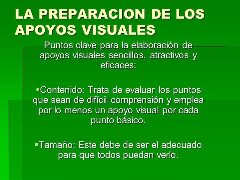 LA PREPARACION DE LOS APOYOS VISUALES Puntos clave para la elaboración de apoyos visuales sencillos, atractivos y eficaces: Contenido: Trata de evalua