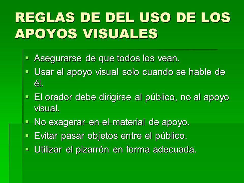REGLAS DE DEL USO DE LOS APOYOS VISUALES Asegurarse de que todos los vean. Asegurarse de que todos los vean. Usar el apoyo visual solo cuando se hable