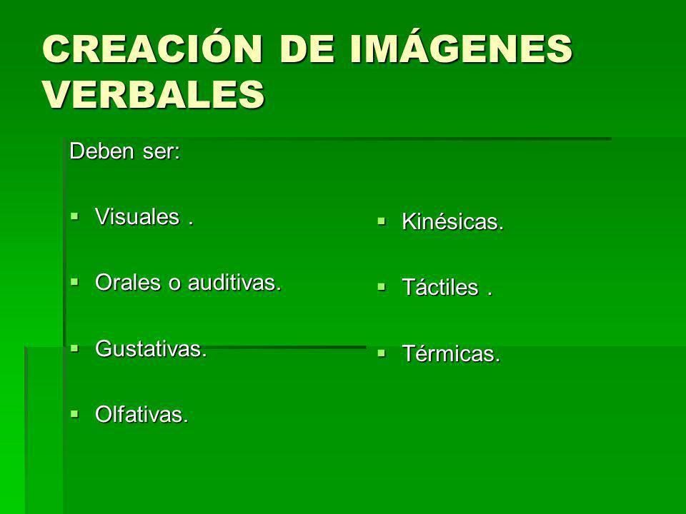 CREACIÓN DE IMÁGENES VERBALES Deben ser: Visuales. Visuales. Orales o auditivas. Orales o auditivas. Gustativas. Gustativas. Olfativas. Olfativas. Kin