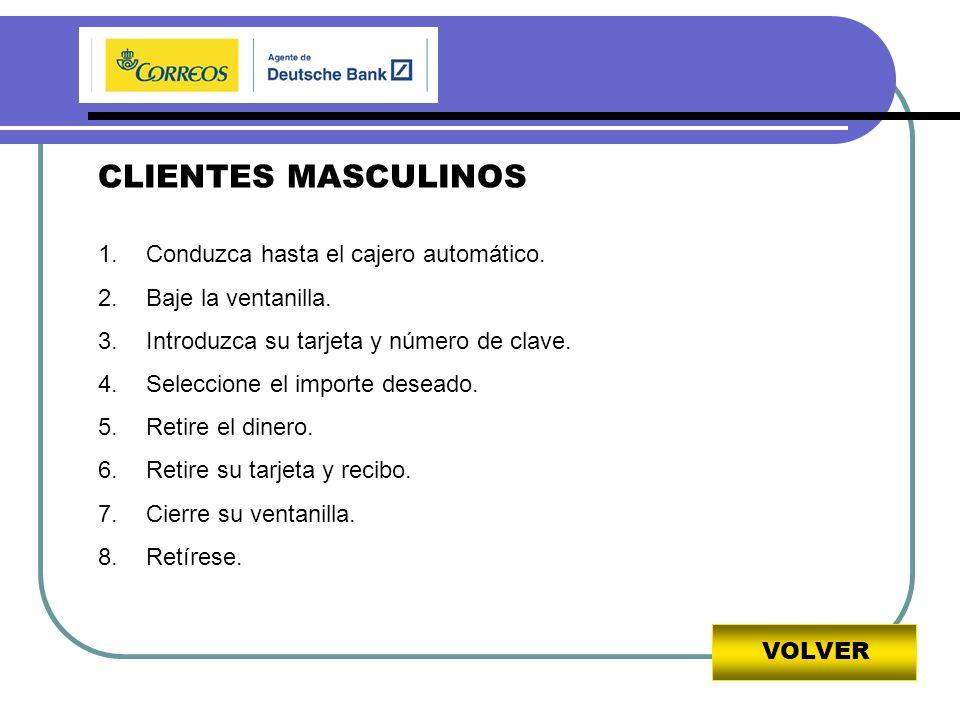 VOLVER CLIENTES MASCULINOS 1.Conduzca hasta el cajero automático.
