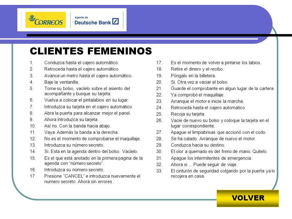 VOLVER CLIENTES FEMENINOS 1.Conduzca hasta el cajero automático.
