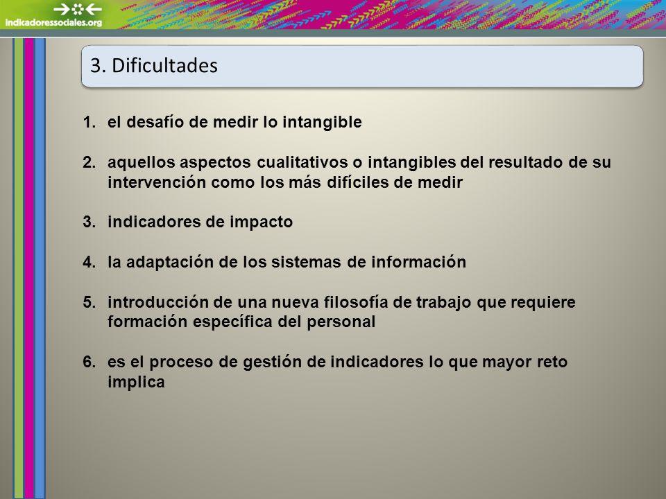 3. Dificultades 1.el desafío de medir lo intangible 2.aquellos aspectos cualitativos o intangibles del resultado de su intervención como los más difíc