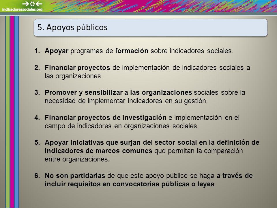 5. Apoyos públicos 1.Apoyar programas de formación sobre indicadores sociales.