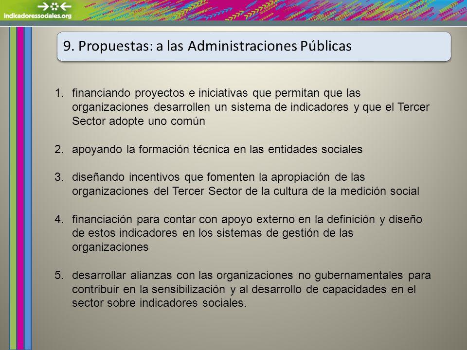 9. Propuestas: a las Administraciones Públicas 1.financiando proyectos e iniciativas que permitan que las organizaciones desarrollen un sistema de ind