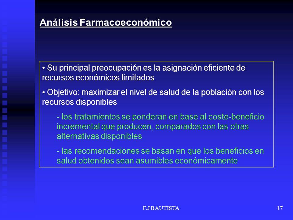 F.J BAUTISTA17 Su principal preocupación es la asignación eficiente de recursos económicos limitados Objetivo: maximizar el nivel de salud de la pobla