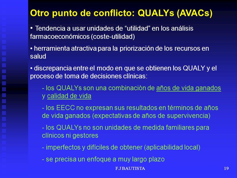 F.J BAUTISTA19 Otro punto de conflicto: QUALYs (AVACs) Tendencia a usar unidades de utilidad en los análisis farmacoeconómicos (coste-utilidad) herramienta atractiva para la priorización de los recursos en salud discrepancia entre el modo en que se obtienen los QUALY y el proceso de toma de decisiones clínicas: - los QUALYs son una combinaciòn de años de vida ganados y calidad de vida - los EECC no expresan sus resultados en términos de años de vida ganados (expectativas de años de supervivencia) - los QUALYs no son unidades de medida familiares para clínicos ni gestores - imperfectos y difíciles de obtener (aplicabilidad local) - se precisa un enfoque a muy largo plazo