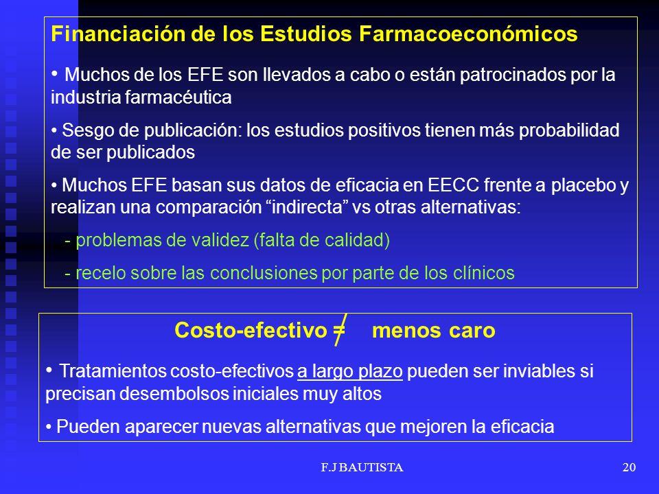 F.J BAUTISTA20 Financiación de los Estudios Farmacoeconómicos Muchos de los EFE son llevados a cabo o están patrocinados por la industria farmacéutica Sesgo de publicación: los estudios positivos tienen más probabilidad de ser publicados Muchos EFE basan sus datos de eficacia en EECC frente a placebo y realizan una comparación indirecta vs otras alternativas: - problemas de validez (falta de calidad) - recelo sobre las conclusiones por parte de los clínicos Costo-efectivo =menos caro Tratamientos costo-efectivos a largo plazo pueden ser inviables si precisan desembolsos iniciales muy altos Pueden aparecer nuevas alternativas que mejoren la eficacia