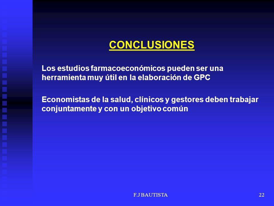 F.J BAUTISTA22 CONCLUSIONES Los estudios farmacoeconómicos pueden ser una herramienta muy útil en la elaboración de GPC Economistas de la salud, clíni