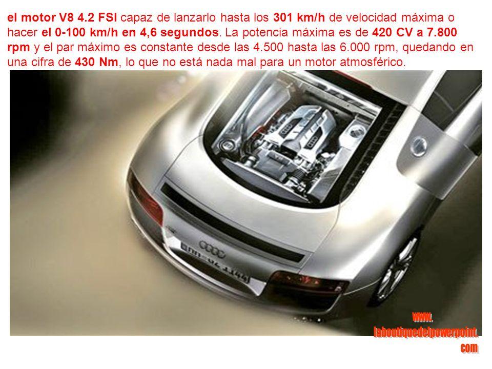 el motor V8 4.2 FSI capaz de lanzarlo hasta los 301 km/h de velocidad máxima o hacer el 0-100 km/h en 4,6 segundos.
