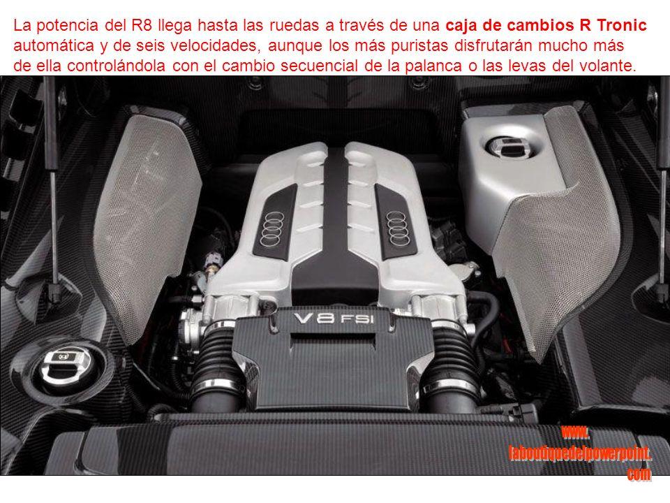 La potencia del R8 llega hasta las ruedas a través de una caja de cambios R Tronic automática y de seis velocidades, aunque los más puristas disfrutarán mucho más de ella controlándola con el cambio secuencial de la palanca o las levas del volante.