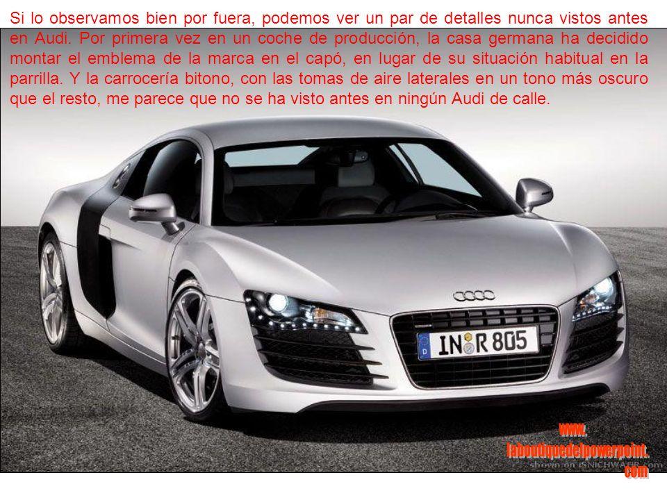 Como opción, el R8 puede montar asientos anatómicos tipo bacquet, desarrollados específicamente por la filial de Audi quattro.