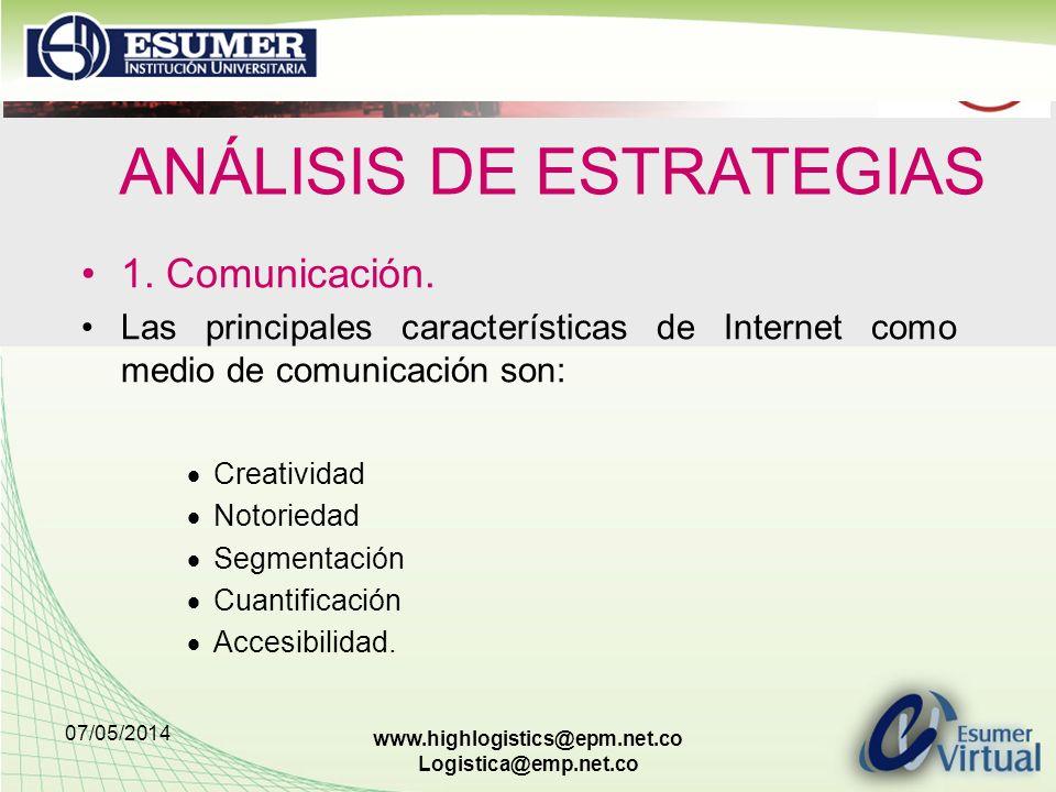 07/05/2014 www.highlogistics@epm.net.co Logistica@emp.net.co ANÁLISIS DE ESTRATEGIAS 1. Comunicación. Las principales características de Internet como