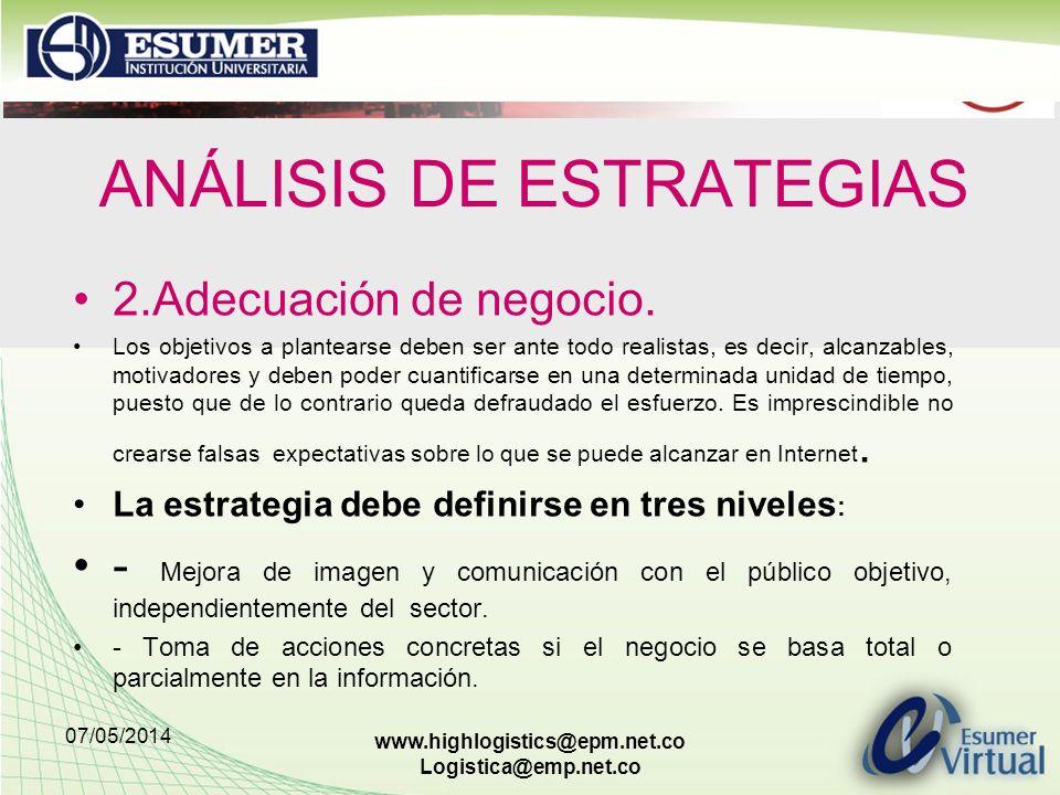 07/05/2014 www.highlogistics@epm.net.co Logistica@emp.net.co ANÁLISIS DE ESTRATEGIAS 2.Adecuación de negocio. Los objetivos a plantearse deben ser ant