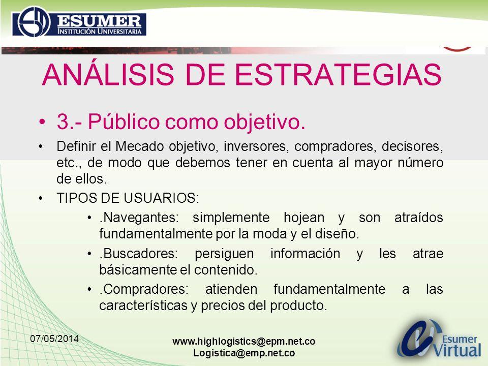 07/05/2014 www.highlogistics@epm.net.co Logistica@emp.net.co ANÁLISIS DE ESTRATEGIAS 3.- Público como objetivo. Definir el Mecado objetivo, inversores