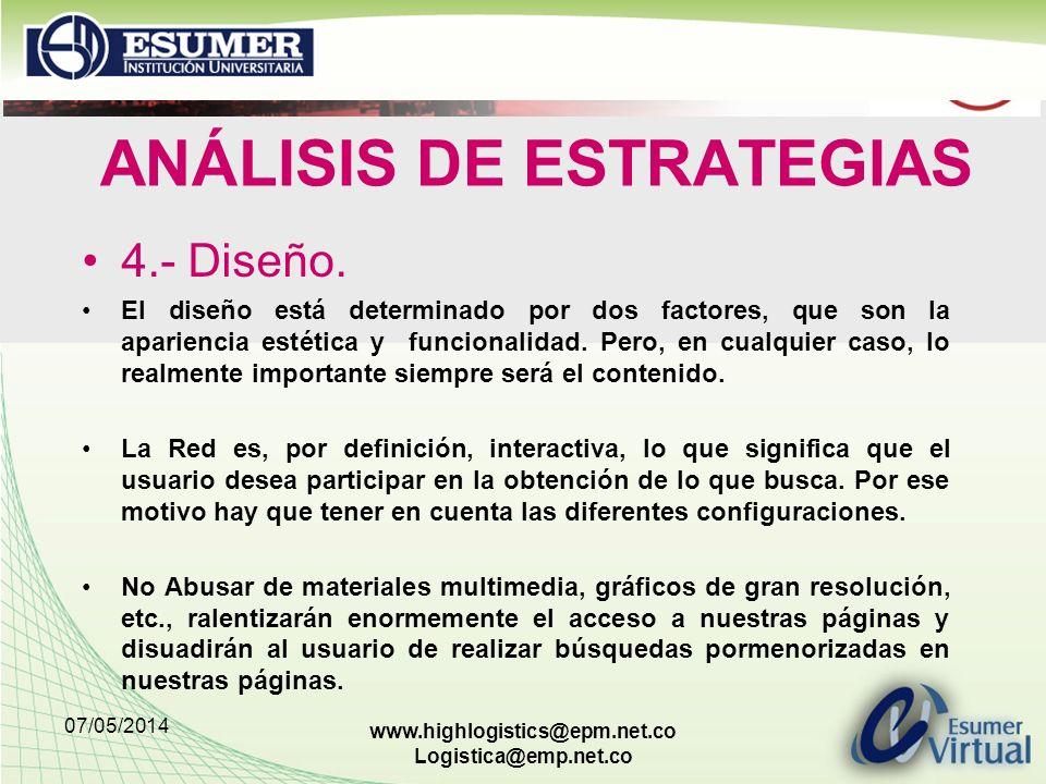 07/05/2014 www.highlogistics@epm.net.co Logistica@emp.net.co ANÁLISIS DE ESTRATEGIAS 4.- Diseño.