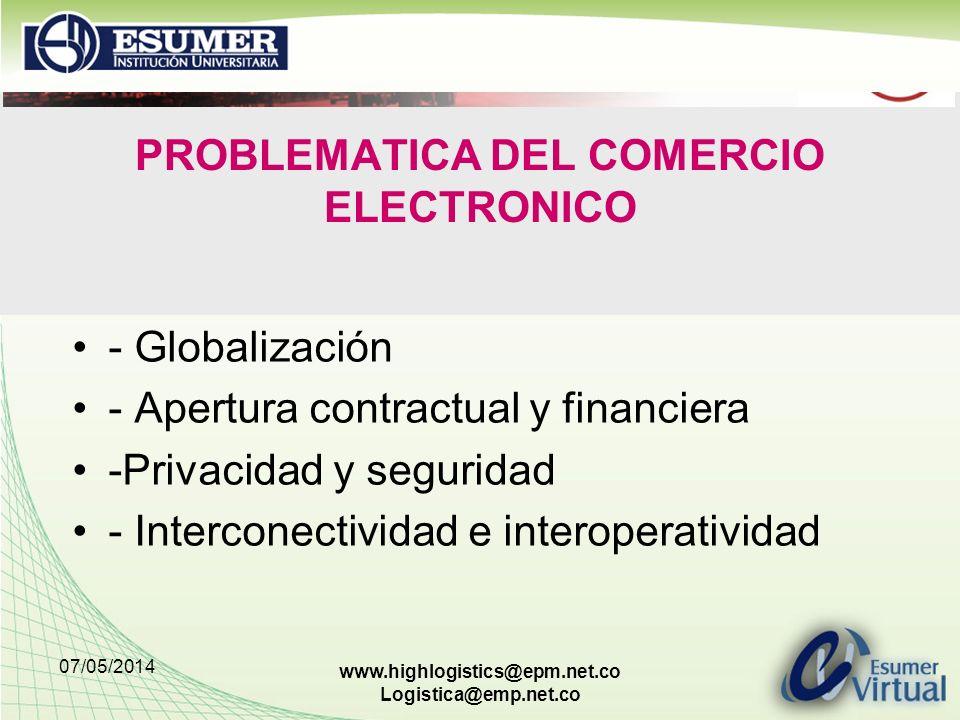 07/05/2014 www.highlogistics@epm.net.co Logistica@emp.net.co PROBLEMATICA DEL COMERCIO ELECTRONICO - Globalización - Apertura contractual y financiera -Privacidad y seguridad - Interconectividad e interoperatividad