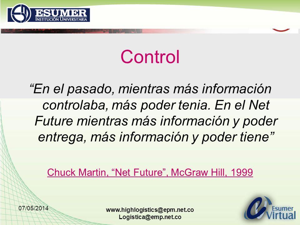07/05/2014 www.highlogistics@epm.net.co Logistica@emp.net.co Control En el pasado, mientras más información controlaba, más poder tenia. En el Net Fut
