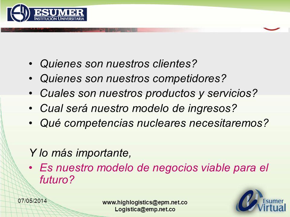 07/05/2014 www.highlogistics@epm.net.co Logistica@emp.net.co Quienes son nuestros clientes? Quienes son nuestros competidores? Cuales son nuestros pro