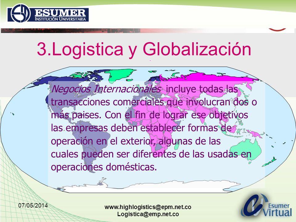 07/05/2014 www.highlogistics@epm.net.co Logistica@emp.net.co 3.Logistica y Globalización Negocios Internacionales incluye todas las transacciones comerciales que involucran dos o más paises.