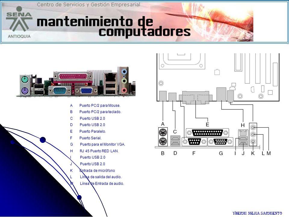 A Puerto PC/2 para Mouse. B Puerto PC/2 para teclado. C Puerto USB 2.0 D Puerto USB 2.0 E Puerto Paralelo. F Puerto Serial. G Puerto para el Monitor V