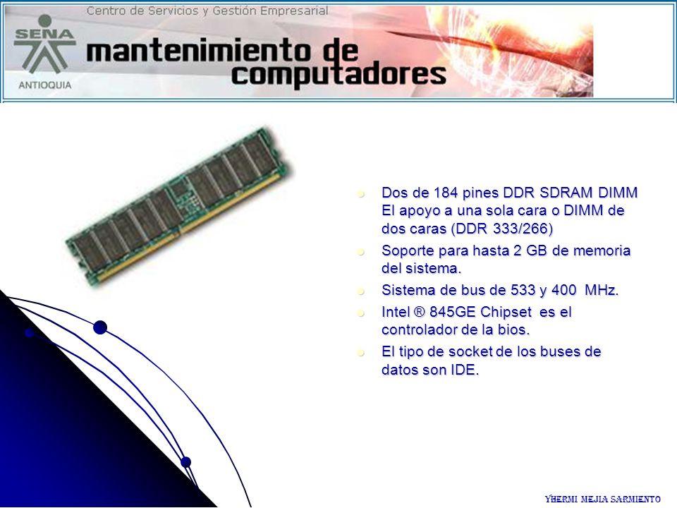 Dos de 184 pines DDR SDRAM DIMM El apoyo a una sola cara o DIMM de dos caras (DDR 333/266) Dos de 184 pines DDR SDRAM DIMM El apoyo a una sola cara o
