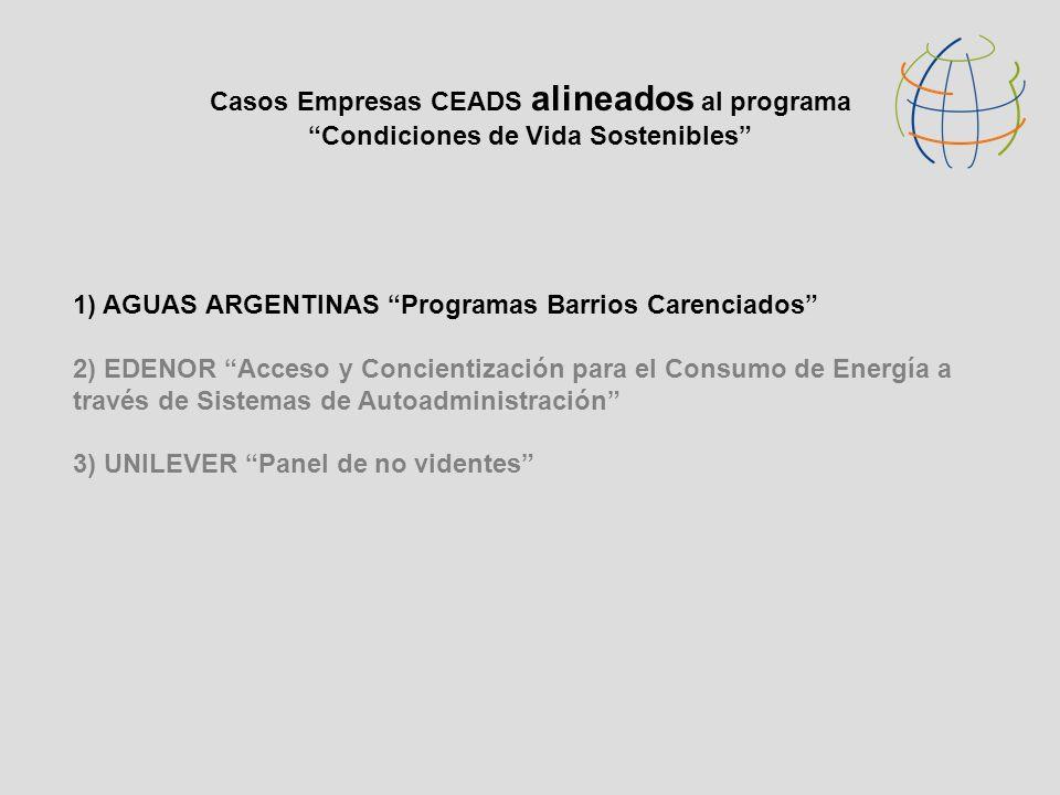 Casos Empresas CEADS alineados al programa Condiciones de Vida Sostenibles 1) AGUAS ARGENTINAS Programas Barrios Carenciados 2) EDENOR Acceso y Concie