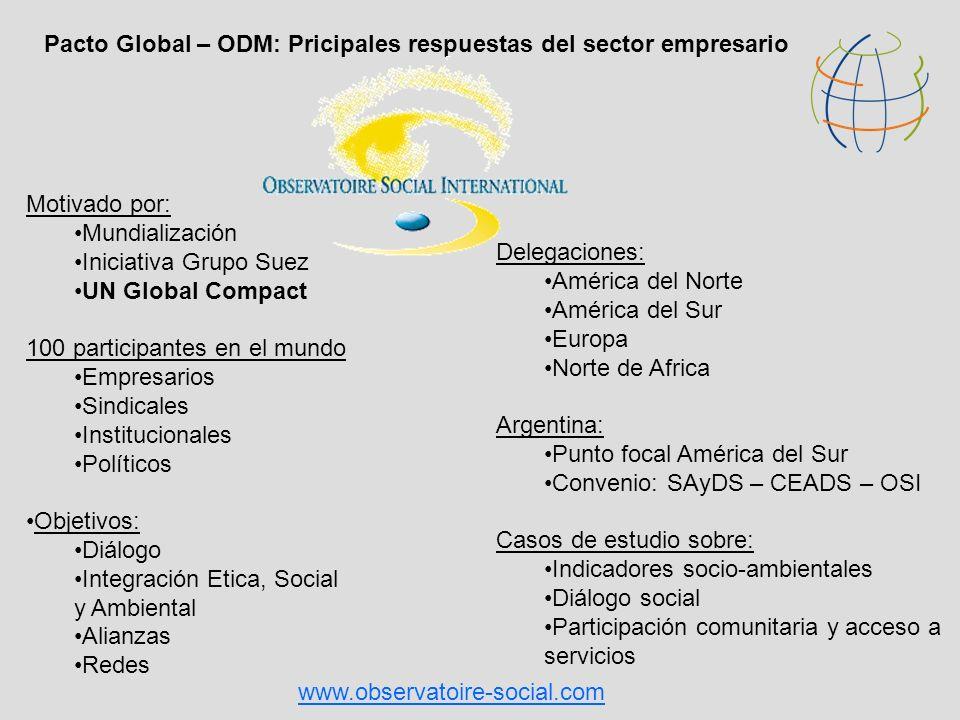 Motivado por: Mundialización Iniciativa Grupo Suez UN Global Compact 100 participantes en el mundo Empresarios Sindicales Institucionales Políticos Ob